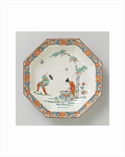 Dish, octagonal, with polychrome decoration with man, child cooking pot, wife and two bamboo stems and garlands along the edge by Anonymous