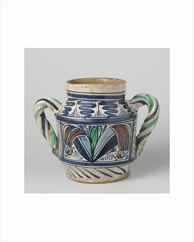 Pot, cylindrical, multicolor painted on both sides of the belly a box with a stylized flower or plant by Anonymous