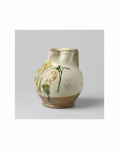 Jug spherical with pinched spout and wide, flat ears, multicolor painted with Florentine lily by Anonymous