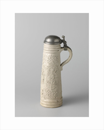 Stoneware decorated with biblical scenes and a weapon by Monogrammist LW