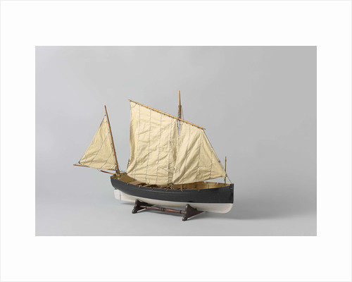 A one-masted sailing boat with a mainsail and jib rigged fore and aft by Anonymous