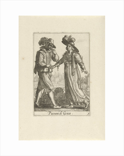 Farmer Couple dressed according to the Genoese fashion, Anonymous by Johannes Covens en Cornelis Mortier Pieter Lastman