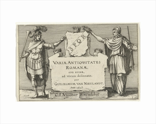 Fame and Arts besides a monumental stone, Anonymous by Claes Jansz. Visscher II