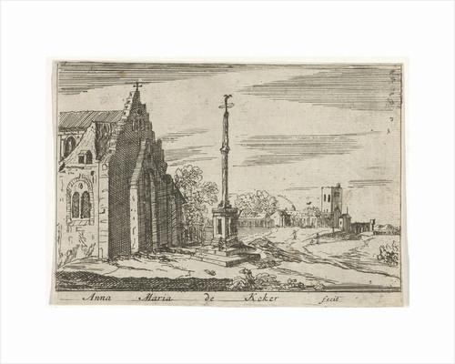 Landscape with a memorial column by Anna Maria de Koker