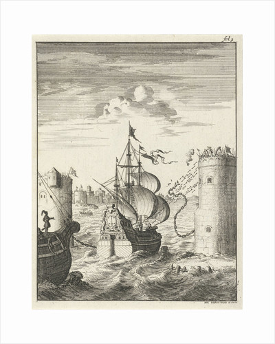 Conquest of Damietta and sailing on the chain by Jan Luyken