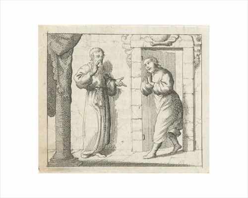 Man receives visitors at the door by Pieter Arentsz II