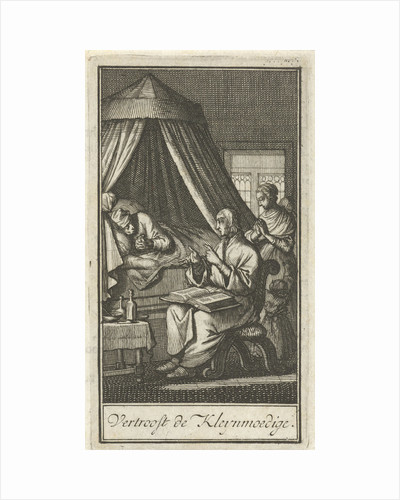 Figures praying at the bed of a patient by Barent Bos