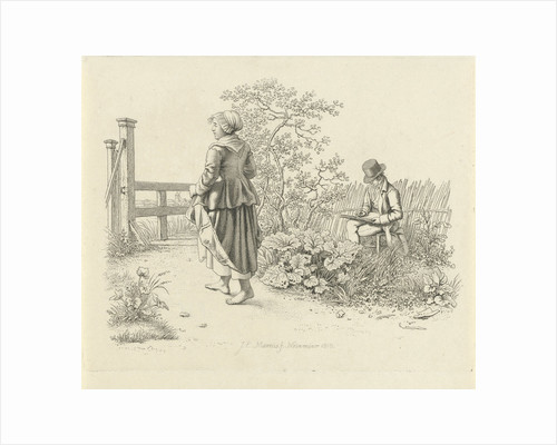 Artist and a peasant girl by Jacob Ernst Marcus