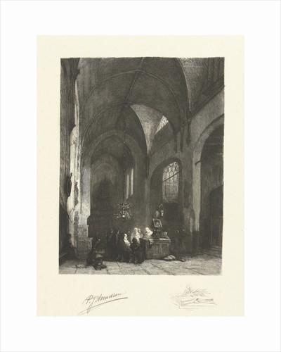 Service in a monastery by Johannes Bosboom