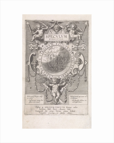 Mirror with the five wise and five foolish virgins by Johann Sadeler I
