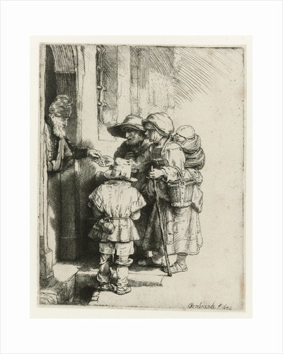 A blind hurdy-gurdy player with family receives a handout by Rembrandt Harmensz. van Rijn