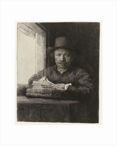 Self-portrait of Rembrandt Etching at a Window by Rembrandt Harmensz. van Rijn
