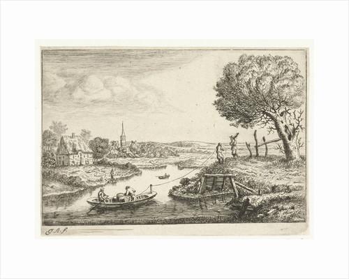 River landscape with barge by Jan van Almeloveen