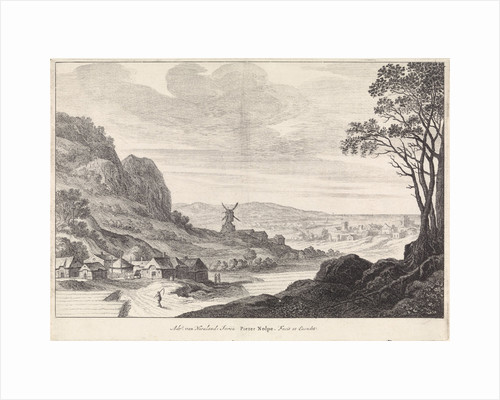 Coastal landscape with a windmill by Pieter Nolpe