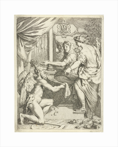 Time kneels for a hand worker at a loom by Gerard de Lairesse