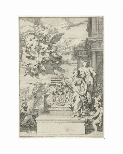 Allegory on the trading of the Medici and the coat of arms by Gerard de Lairesse