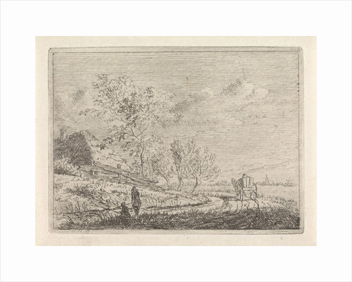 Landscape with cart and two fishermen by Johannes Christiaan Janson