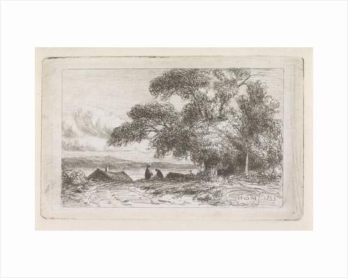 Landscape with two people by Jacob Jan van der Maaten