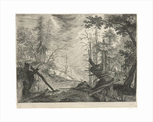Three hunters in a river in a forest by Aegidius Sadeler