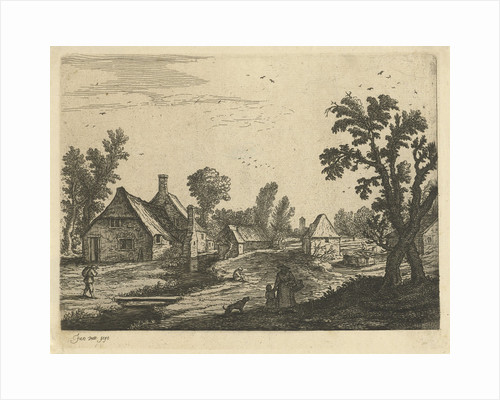 Village scene with woman and child in the village street by Jan van de Cappelle