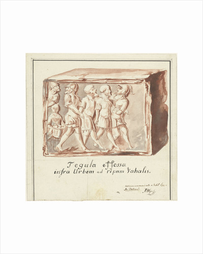 Red tile with image of imprisonment of Batavians by Romans by Anonymous