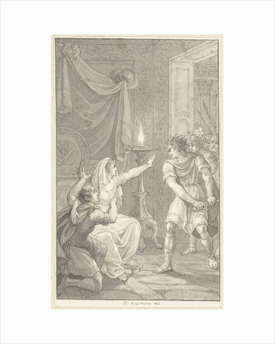 Caracalla murdered his brother Geta in the bedroom of their mother by Reinier Vinkeles