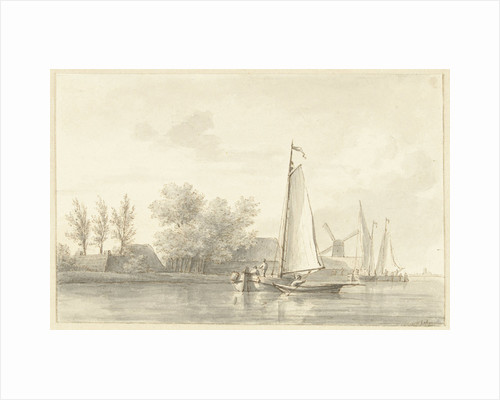 River view with sailing and rowing boat by Martinus Schouman