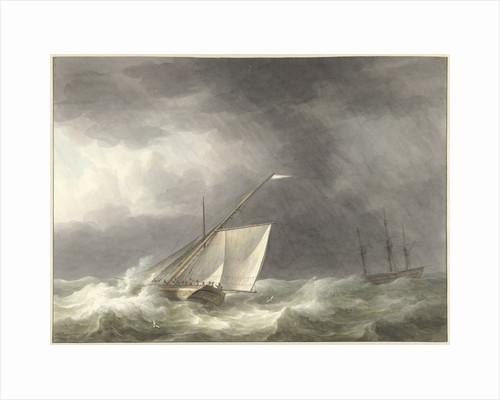 Two sailing ships in rough seas by Martinus Schouman