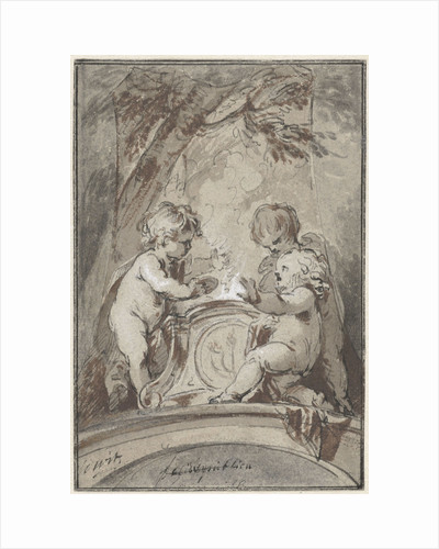 Allegory with three putti at an altar by Jacob de Wit