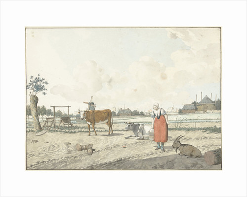 Landscape with farmer woman and livestock by W. Barthautz