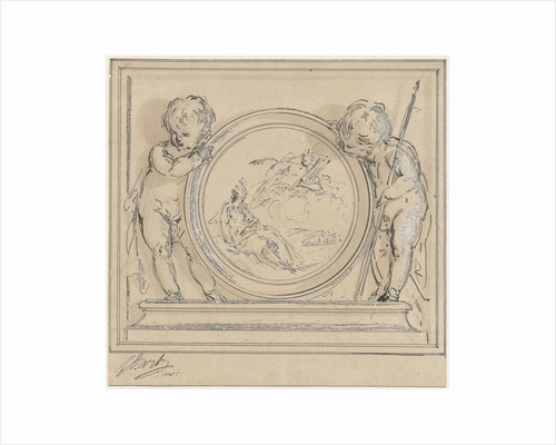 Two putti with medallion by Jacob de Wit