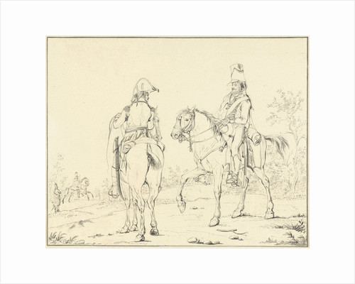 Two French cavalrymen on horseback by Johannes Vinkeles