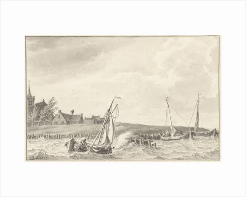 Boats at a dike by Tako Hajo Jelgersma