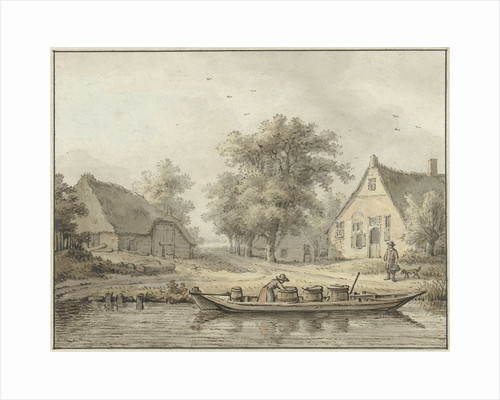 Landscape with moored barge with containers by Cornelis Buys