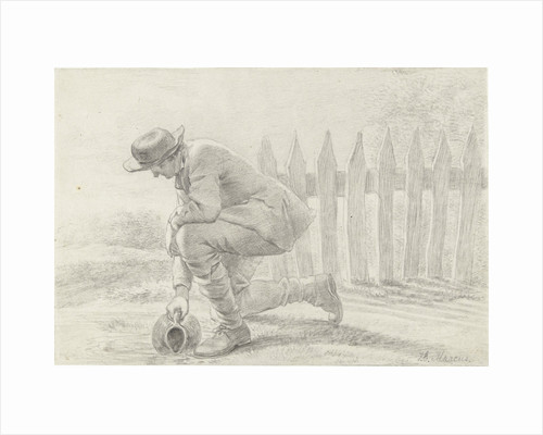Kneeling man carrying a jar fills in a ditch by Jacob Ernst Marcus