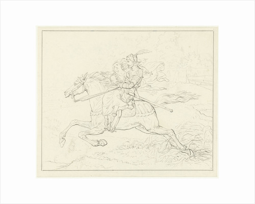 Knight with a woman on horseback by Louis Moritz