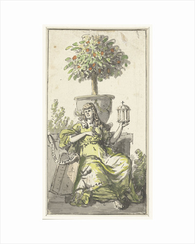 Design for a title page with a woman with a monstrance by Abraham van Strij I