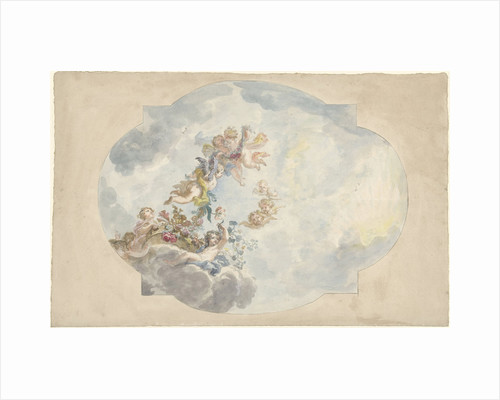 Design for a ceiling painting with putti by Elias van Nijmegen