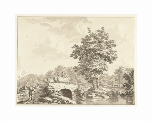 Landscape with a cart on a stone bridge by Jan Bruyn
