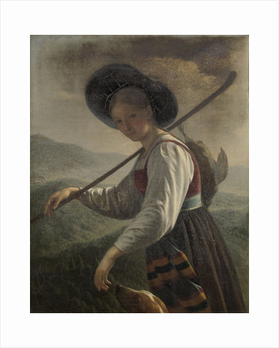 A Swiss Peasant Woman with her Dog by Cornelis Cels