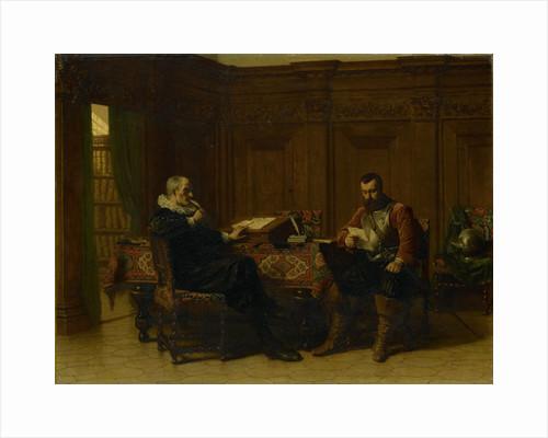 Two men in a seventeenth - century interior, called Eene conference by Lambertus Lingeman