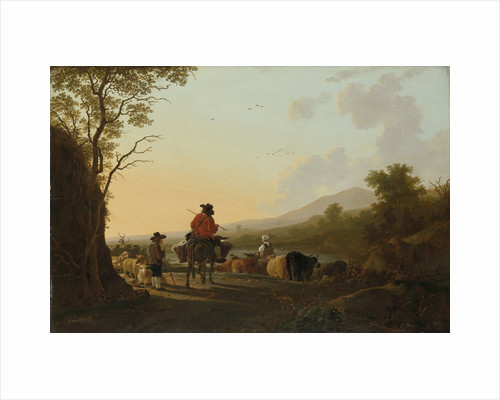 Landscape with Cattle Driver and Shepherd by Jacob van Strij