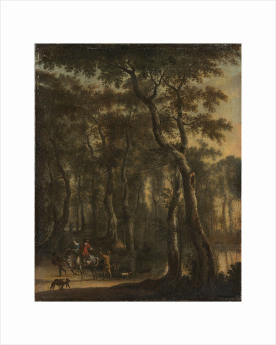 View of a Forest with Hunters by Jan Hackaert