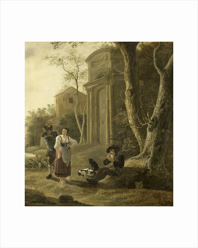 The Piper (Shepherd Scene with Shawm Player by Jan Baptist Wolfaerts