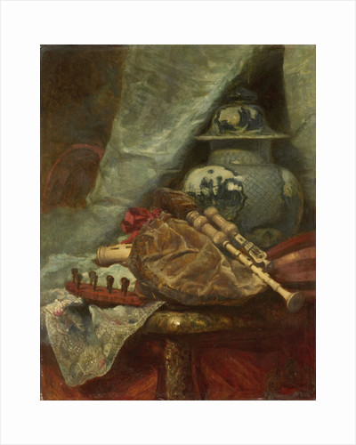 Still Life with bagpipes by Adolphe Mouilleron