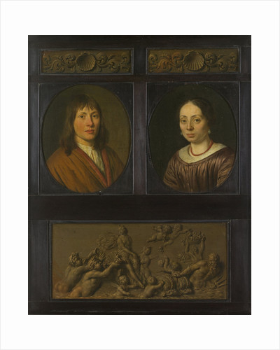 Portraits of a Man and a Woman framed with two ornamental frieze miniatures with shell motif and a Triumph of Amphitrite by Willem van Mieris
