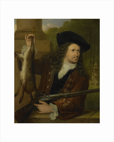 Portrait of Jan de Hooghe, Brother of Anna de Hooghe in Hunting Costume by Ludolf Bakhuysen
