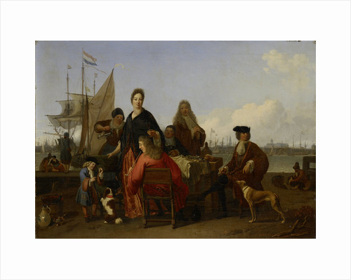 The Bakhuysen (Backhuysen) and de Hooghe Families at a Meal on the Mosselsteiger on Het IJ in Amsterdam, The Netherlands by Ludolf Bakhuysen