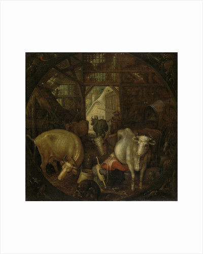 Cows in a stable; witches in the four corners by Roelant Savery