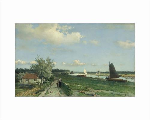 The Trekvliet Shipping Canal near Rijswijk, known as the View near the Geest Bridge, The Netherlands by Johan Hendrik Weissenbruch